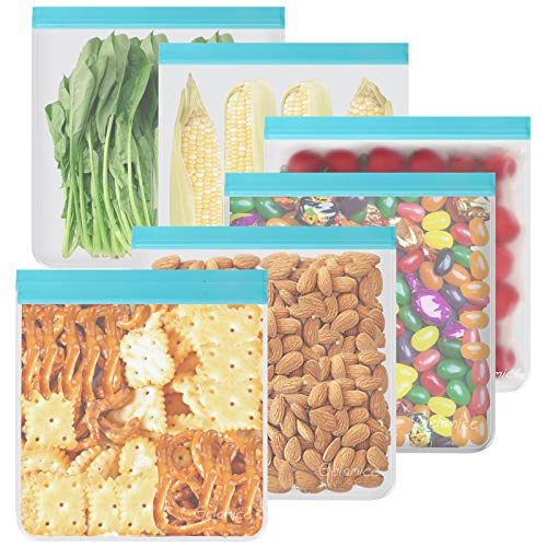 Reusable Gallon Freezer Bags - 6 Pack 1 Gallon Storage Bags, Leakproof Silicone and Plastic Free Gallon Ziplock Bags for Marinate Meats Cereal Sandwich Snack Travel Items Meal Prep Home Organization