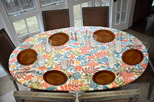 Covers For The Home Deluxe Elastic Edged Flannel Backed Vinyl Fitted Table Cover - Botanical Pattern - Oblong/Oval - Fits Tables up to 48' W x 68' L