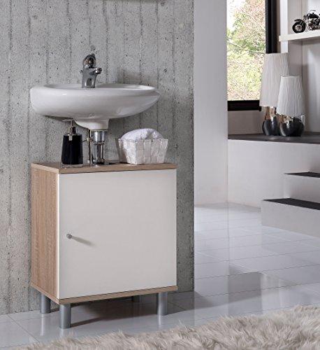 VCM Bad Unterschrank Waschtisch Waschbecken Badschrank Regal Wento 55x45x32 Badezimmer Schrank Sonoma-Eiche (Sägerau) /Weiss