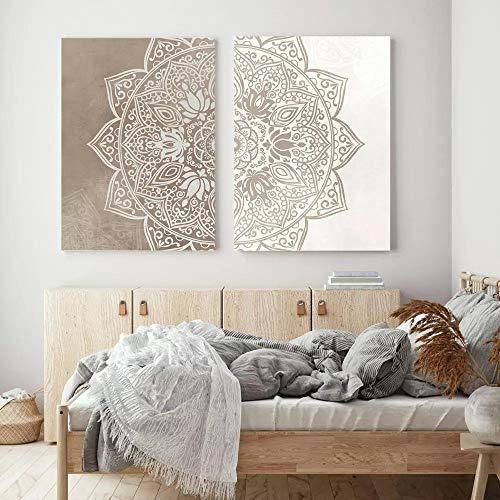 WTYBGDAN Original Beige Taupe Mandala Boho Neutrale Farbe Bild Wandkunst Leinwand Malerei Poster Druck Wandbild für Wohnzimmer Dekor | 50x70cmx2Pcs / Kein Rahmen