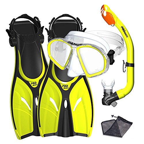 Promate Junior Mask Fins Snorkel Set for Kids, Yellow, LXL