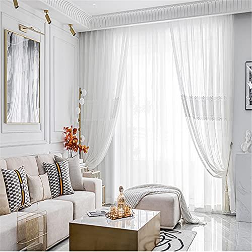 Cortinas Blancas Simples De Estilo Europeo Bordado De Estilo Europeo Bordado Dormitorio Sala De Estar Balcón Cortinas De Estudio Con Cortinas Anti-Ultravioleta De Hilo 2x79x106in(200x270cm)WxH