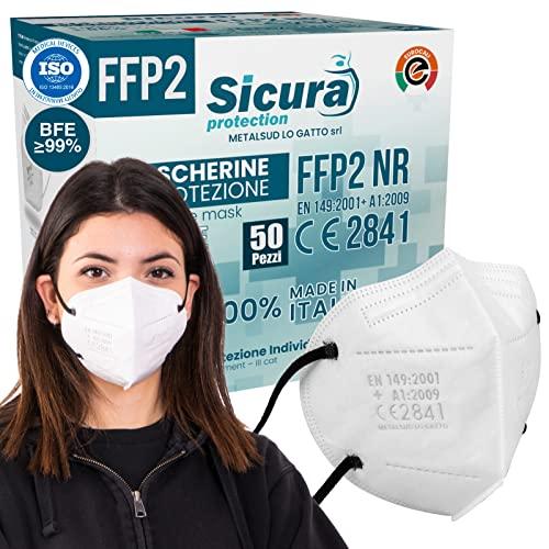 50 Mascherine FFP2 Certificate CE Bianche Made in Italy con Elastici Neri e logo SICURA impresso BFE ≥99% Mascherina ffp2 italiana SANIFICATA e sigillata. Pluri certificata ISO 13485 e ISO 9001