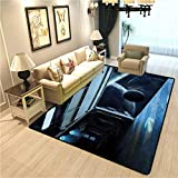 Outer Space Modern Interior Soft Carpet Moon Before Station Planet Apocalypse Landing Alternative Humanoid Robots Print Super Soft Indoor Modern Rugs Navy Blue W6xL7 Ft