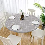 Cozomiz Elastische Tischdecke Gartentischdecke Rundtischdecke wasserdichte rutschfeste Abwischbar Schmutzabweisend Tischdecke 60cm Runde Enge Passform Gitter Grau