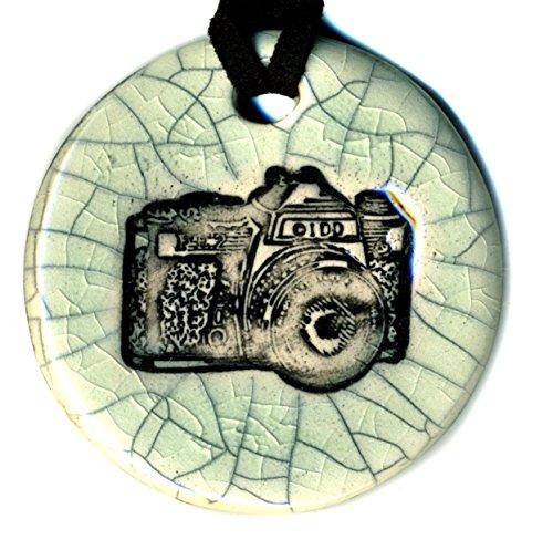 Surly-Ramics Camera Ceramic Pendant Necklace in Antiqued Crackle