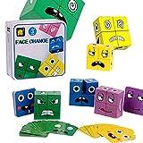 Vecksoy Juguete de madera con diseño de dados mágicos para niños de 3 – 4 – 5 años, 16 puzles de madera y 64 cartas