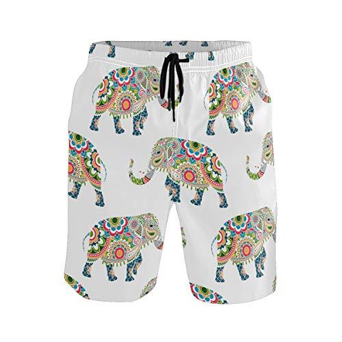BONIPE Herren-Badehose, buntes Mandala-Elefanten-Muster, schnelltrocknend, Boardshorts mit Kordelzug und Taschen Gr. S 7-9, mehrfarbig