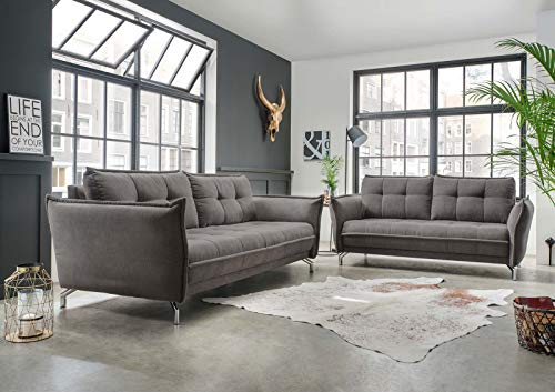 lifestyle4living Couchgarnitur in grauem Stoff bezogen, Garnitur bestehend aus 2-Sitzer und 3-Sitzer Sofa