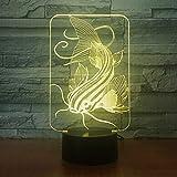 (Solo 1) Lámpara de 7 colores Fish 3d Luces de noche LED visuales para niños Mesa táctil Usb Lampara Lampe Baby Sleeping Nightlight Luz de movimiento