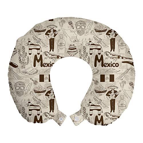 ABAKUHAUS Mexiko Reisekissen Nackenstütze, Sketch Kultur Artikel Muster, Schaumstoff Reiseartikel für Flugzeug und Auto, 30x30 cm, Champagner Schokolade