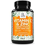 Vitamin C 1200mg & Zinc 40mg per Daily Serving - Maintenance of Normal Immune System - 120 Vegetarian Capsules with Ascorbic Acid - 2 Month Supply - Made in The UK by Nutravita
