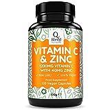 Vitamine C 1200mg Maximum Dosage - Zinc 40mg - 120 Capsules Végétariennes – Supplément Alimentaire contribuant à la maintenance du Système Immunitaire - Anti-Fatigue Energisant - Par Nutravita