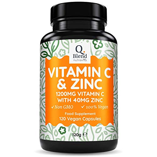 Vitamin C 1200mg and Zinc 40mg per Daily Serving - for Maintenance of Normal Immune System - 120 High Strength Vegan Capsules with Ascorbic Acid - 2 Month Supply - Made in The UK by Nutravita