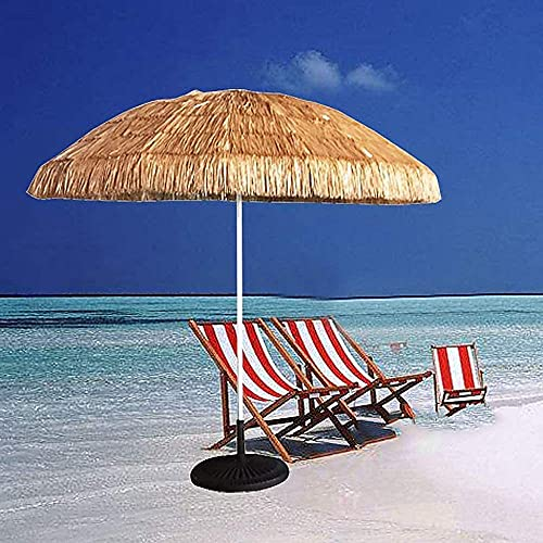CHLDDHC Sombrilla De Playa con Parasol Parasol Redondo Hawaii. Sombrilla Plegable para Patio inclinable sin Base. Color Natural Adecuado para jardín, balcón, Piscina