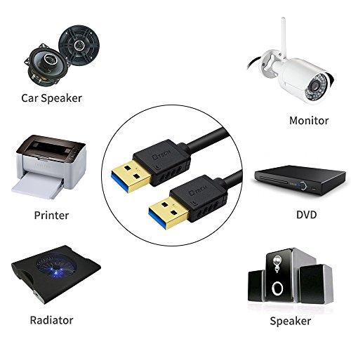 『DTECH USB 3.0 ケーブル 0.25m タイプA-タイプA オス-オス 金メッキコネクタ搭載 ブラック』の7枚目の画像
