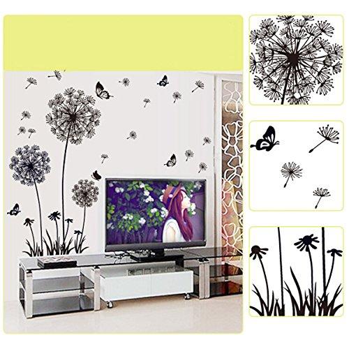 YESURPRISE Vinilo Decorativo Pegatina Pared Para Sala Dormitorio Diente De León Mariposas Color Negro