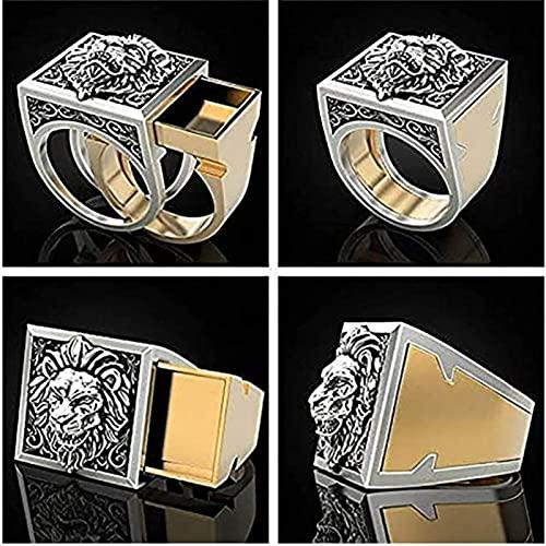 Retro Punk Men Ring Set Secret Compartment Double Layer Coffin Kingdom Ring Lion Hip Hop Ring Men Punk Viking Jewelry 10