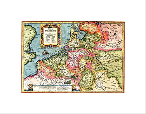 MAP ANTIQUE BELGIË MERCATOR KLEUREN ZWART FRAMED ART PRINT PICTURE B12X7017