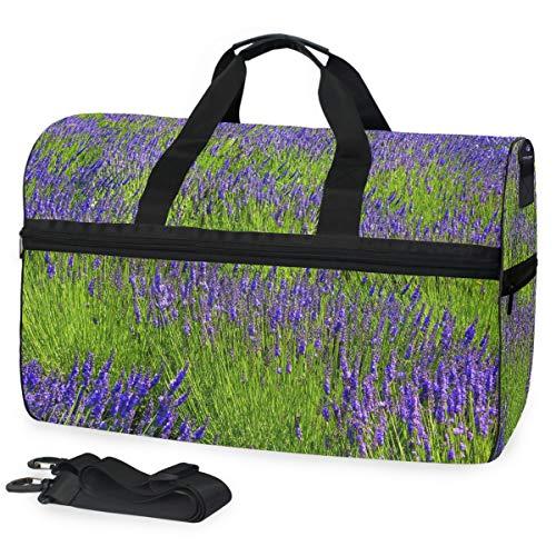 Ahomy - Bolsa de Deporte con Pintura al óleo, Color Lavanda, para Hombre y Mujer, con Compartimento para Zapatos