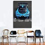 wydlb Bugatti Supercar Corsa Veicolo da Corsa Wall Art Poster Stampe su Tela Dipinti d'Arte per Soggiorno Decor 60x80cm Senza Cornice