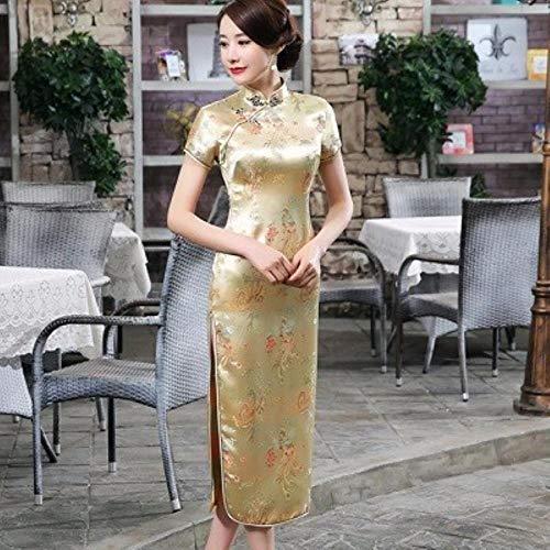 RSM Chinese Dresses Cheongsam Dragon Phoenix Long Qipao Dress Sexy Split Tang Costume Lady Banquet Qipao,Golden Phoenix,S