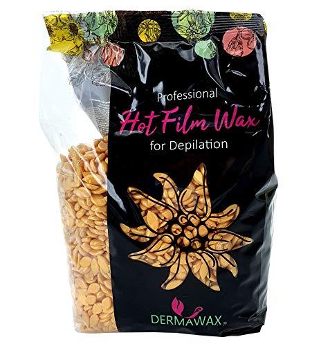 Dermawax Gold Film - Perlas de cera caliente para aplicación sin tiras de cera para todo el cuerpo, depilación profesional