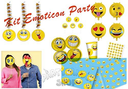 Partylandia Kit de Fiesta de cumpleaños Emoticons para 16 Personas, incluidos Adornos y Decoraciones temáticas, 93 Piezas