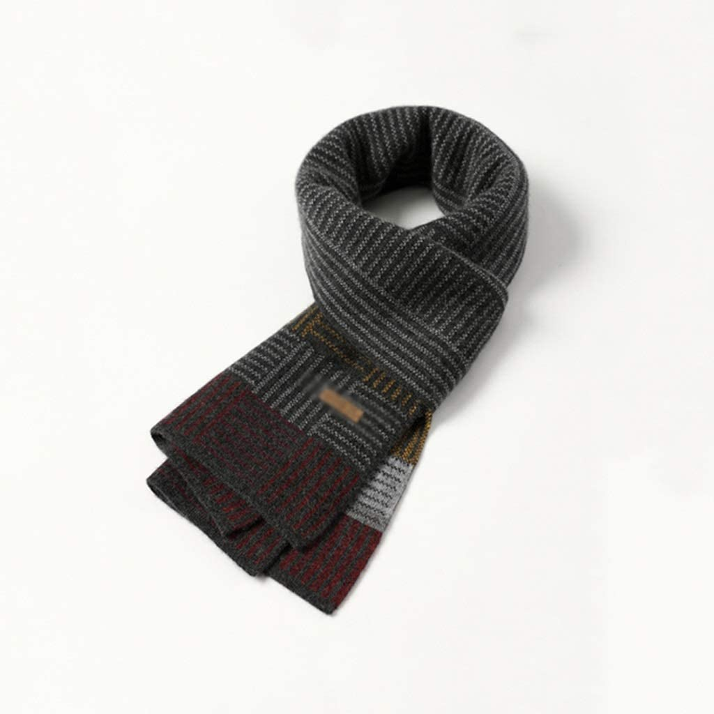 ZANZAN Cold Weather Scarves Men's Winter Scarf 100% Cashmere Feel Soft Warm Knitted Scarf with Gift Box The Best Thanksgiving Gift for Parents Decorative Scarf (Color : Dark Gray)