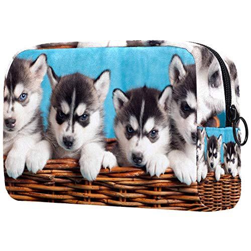 Bolsa de cosméticos para mujeres, perros husky bebé, bolsas de maquillaje, accesorios organizador de regalos