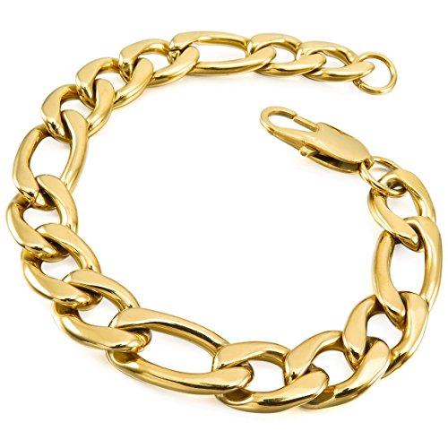 of inblue jewelry designers INBLUE Men's Stainless Steel Bracelet Link Wrist Curb Gold Silver Two Tone