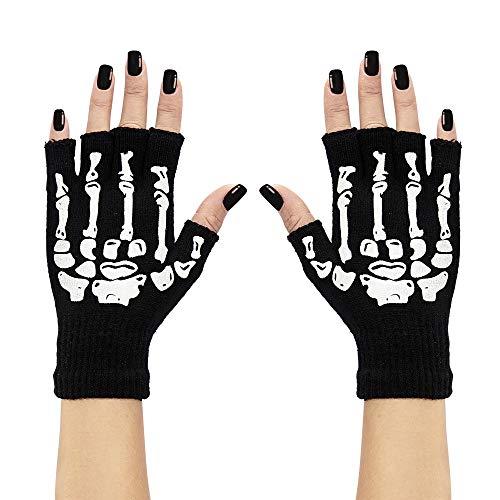 Widmann Fingerlose Handschuhe mit Skelettaufdruck