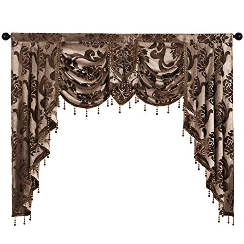 NAPEARL Jabot Curtains Valances and Swags-Luxury Window Valances for Living Room, Brown Waterfall Valances for Windows ( 1 Panel , 61-Inch Wide )