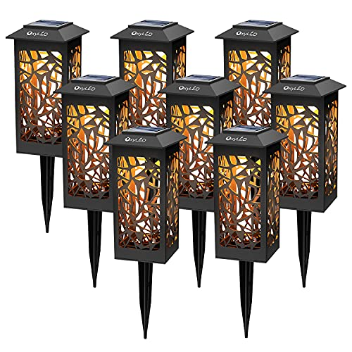 8 Stück Solar Gartenleuchten,OxyLED Solar Gartenleuchte IP65 Wasserdicht Außen Solarlampe mit Erdspieß Kunststoff für Garten Patio Rasen,Terrasse(Warmweiß)