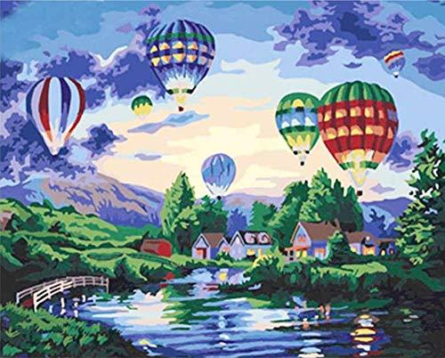 LULCLY Kasteel en Ballon Schilderen Foto's Door Getallen Diy Landschap Stad Kleurplaten Door Getallen Thuis Muur Artwork 40X50Cm