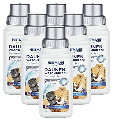 Heitmann Daunen Wäsche: reinigt und pflegt Textilien mit Daunenfüllung, ideal für die schonende Reinigung von Daunen-Jacken, Federkissen, Federbetten, 250ml, 6er Pack