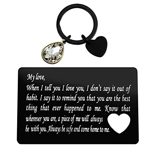Couple Gift Engraved Metal Wallet Card Inserts Keychain Set Valentine's Day Jewelry When I Tell You I Love You Anniversary Card Gift for Boyfriend Anniversary Wedding Birthday Gifts