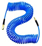 YOTOO Polyurethane Recoil Air Hose 1/4' Inner Diameter by 50' Long with Bend Restrictor, 1/4' Industrial Quick Coupler and Plug, Blue