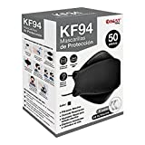 Best Trading 50 Cubrebocas KF94 Certificado, Tapabocas con 4 Capas de Protección contra Partículas, Ajustador Nasal Oculto, Color Negro