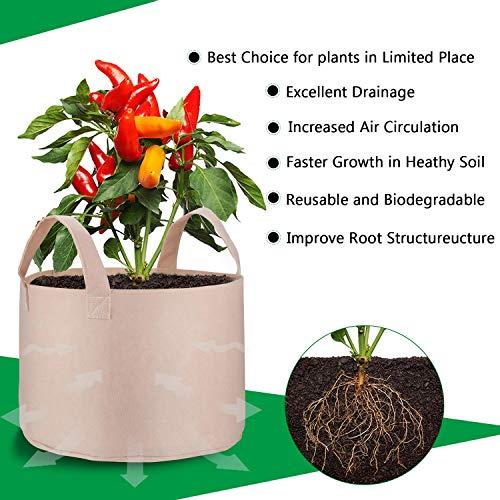 PEYOU Bolsa de Cultivo de Plantas 20L(5 Piezas), Saco para Plantas ...