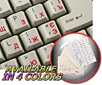 UKRAINIAN RUSSIAN CYRILLIC KEYBOARD STICKER WITH RED LETTERING ON TRANSPARENT BACKGROUND FOR DESKTOP, LAPTOP AND NOTEBOOK [並行輸入品]