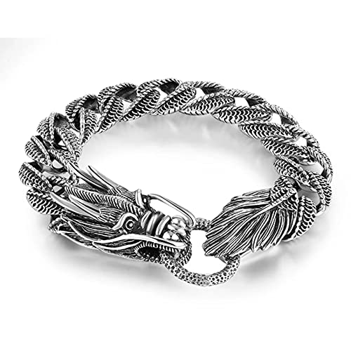 FRTU Herren-Armband aus Massivem 925 Silber 14MM Herren Link Armband Dragon Panzerkette Armband Thai Vintage Style Dragon Link Handgefertigte Punk Herren Armband Armreif, 20cm