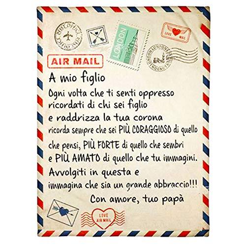 QIDIAN Manta de Fleece Postcard para Hija/Hijo, con Carta Personalizada Cubierta de Franela escrita en Carta Italiana de papá o Madre a Hija/Hijo,Padre in figlio,150 * 200cm