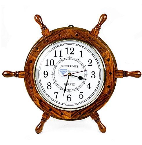 Nagina International Nautische handgefertigte hölzerne Schiff Rad mit Quarz Zeiten Wanduhr - Pirate Nursery Home Decor (18 Zoll, weißes Zifferblatt)