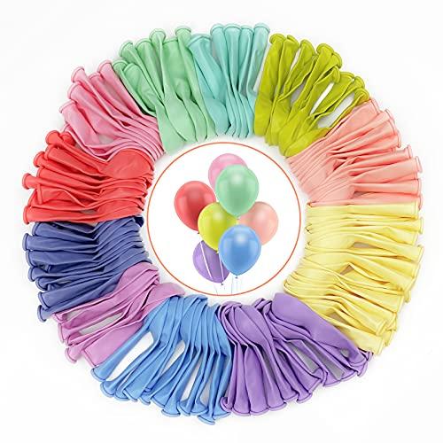 Ballons Multicolore, 100 PCS Pastel Ballon 100% LATEX NATUREL Macaron Ballons convenant pour les fêtes d'anniversaire, les mariages, les anniversaires et les célébrations, Ballons de baudruche