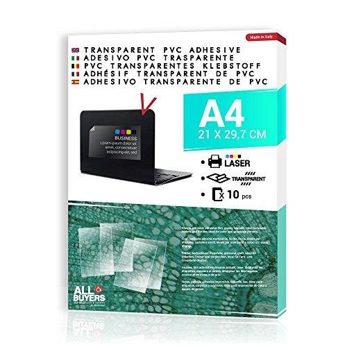 2AINTIMO transparant plakpapier voor laserprinters - 10 x PVC formaat A4 - etiketten en stickers