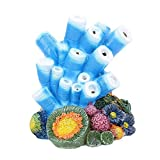 Aquarium Decor Air Bubble Stone Blue Coral Starfish Oxygen Pump Resin...