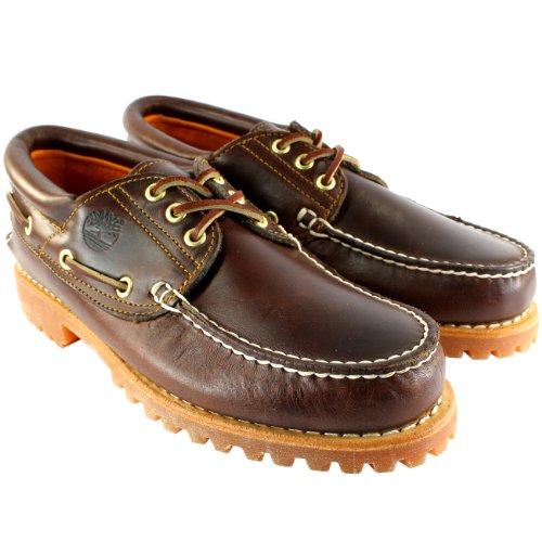Timberland Herren Schuhe Heritage Classic Lug Leder Schnürsenkel Bootsschuh - Braun - 42