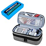 Luxja 2 Layers Insulin Case with an Ice Pack - Holds 6 Vials (10ml) or 2 Insulin Pens, Diabetic Bag with Supplies Storage Pockets, Gray