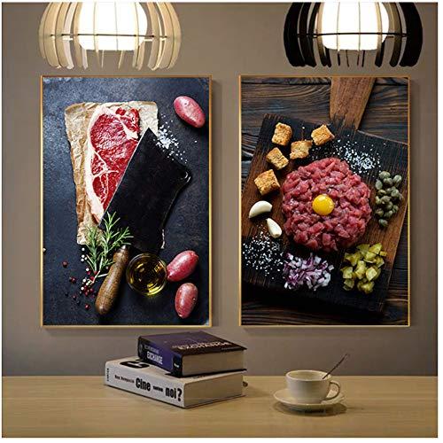 Rotwein Steak Poster Leinwand Kunst Verlockend Lebensmittel Wandkunst für Esszimmer Restaurant Dekoration Dekoration Salon 2x60x90 cm Kein Rahmen